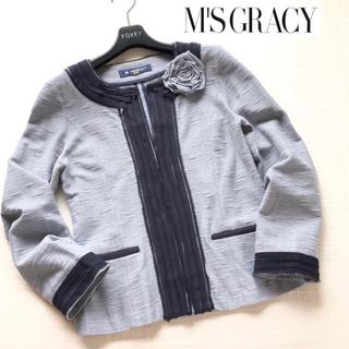 M'S GRACY - エムズグレイシー  コサージュ付ニットノーカラー ジャケット