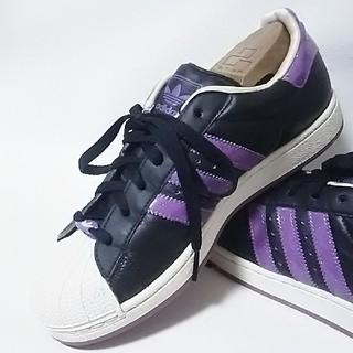 アディダス(adidas)の 限定即完売!アディダススーパースター高級レザースニーカー黒紫!希少25   (スニーカー)