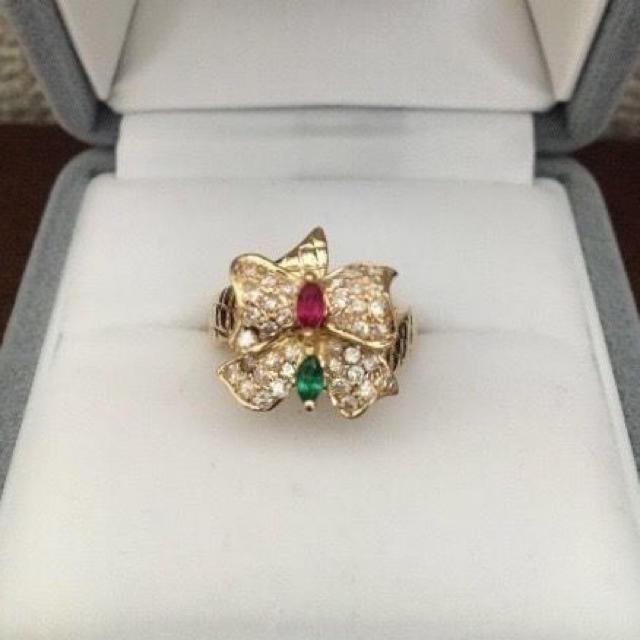 ダイヤモンド×ルビー×エメラルド リング K18YG 0.43ct 6.0g レディースのアクセサリー(リング(指輪))の商品写真