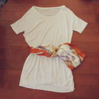ムジルシリョウヒン(MUJI (無印良品))のビックTシャツ&スカーフベルト(Tシャツ(半袖/袖なし))