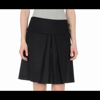 ミュウミュウ(miumiu)のmiu miu♡ミュウミュウ♡黒色ブラックウールプリーツボックススカート♡ベルト(ひざ丈スカート)