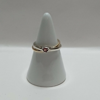 ハート宝石のK10 silver 2連リング(リング(指輪))