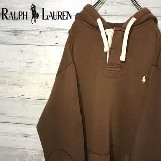 POLO RALPH LAUREN - 【レア】ポロラルフローレン☆刺繍ロゴ ブラウン ラガーシャツ型 パーカー 90s