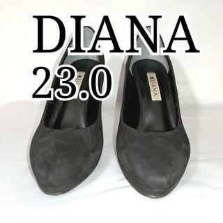 ダイアナ(DIANA)の美品 ダイアナ パンプス 23.0cm スエード ブラック 黒(ハイヒール/パンプス)