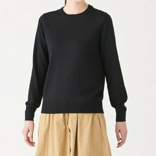MUJI (無印良品) - ◆新品◆  無印良品ウールシルク洗えるクルーネックセーター/黒/L
