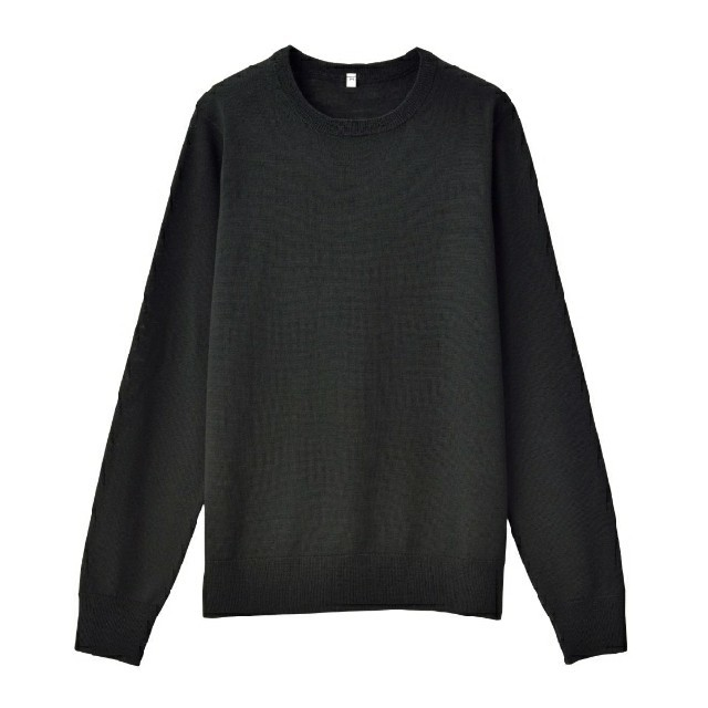 MUJI (無印良品)(ムジルシリョウヒン)の◆新品◆  無印良品ウールシルク洗えるクルーネックセーター/黒/XL レディースのトップス(ニット/セーター)の商品写真