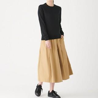 MUJI (無印良品) - ◆新品◆  無印良品ウールシルク洗えるクルーネックセーター/黒/XL