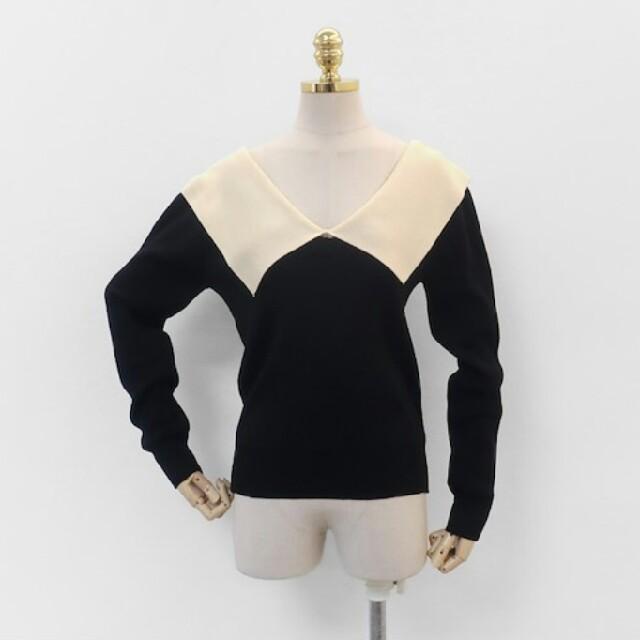 dholic(ディーホリック)の【3color】大きめ襟 バイカラー ニット レディースのトップス(ニット/セーター)の商品写真