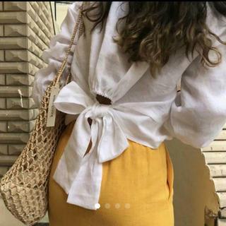 dholic - 秋♥バックリボン トップス♥腰開き スタイルアップ ホワイト