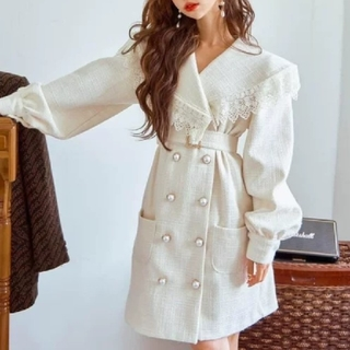 Swankiss - BIG COLLAR LACE TWEED COAT