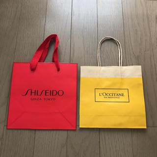 ロクシタン(L'OCCITANE)のロクシタン、資生堂、紙袋 ショップ袋2点セット。(ショップ袋)