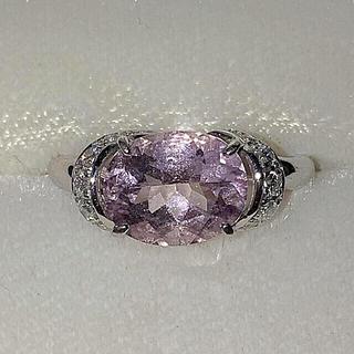 18KWG モルガナイト ダイヤモンド リング パワーストーン(リング(指輪))