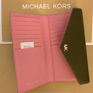 Michael Kors - 新品マイケルコース 大人気コンパクト封筒型三つ折り財布 オリーブ&ピンク