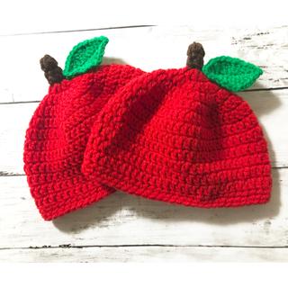 フルーツ帽子 * ニット帽 * フルーツ * 帽子 * りんご * 赤