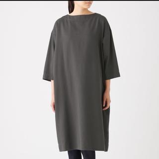 MUJI (無印良品) - 無印良品 新疆綿ドビ-プルオーバーワンピース ダ-クグレー  ONE SIZE