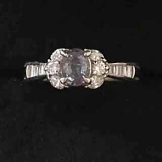 希少 アレキサンドライト プラチナ ダイヤモンド 指輪 リング(リング(指輪))