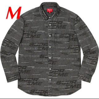 シュプリーム(Supreme)のM 黒 supreme Dimensions Logo Denim Shirt (シャツ)