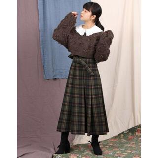 merry jenny - 未使用 merry jenny チェック柄ウール混 ロングスカート