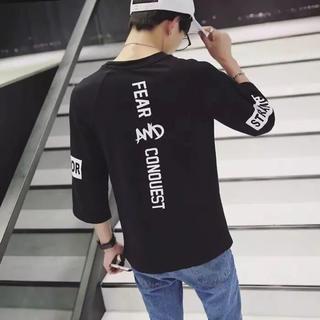 韓国ファッション バックプリント 七分袖 Tシャツ ブラック(Tシャツ/カットソー(七分/長袖))