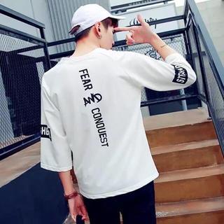 韓国ファッション バックプリント 七分袖 Tシャツ ホワイト(Tシャツ/カットソー(七分/長袖))