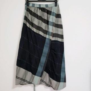 センソユニコ(Sensounico)のUSED センソユニコ 慈雨 夏素材シックなグリーン系チェック柄ロングスカート(ロングスカート)