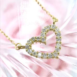 ★K18 ダイヤモンド D0.10ct ハートモチーフ ネックレス 40cm(ネックレス)