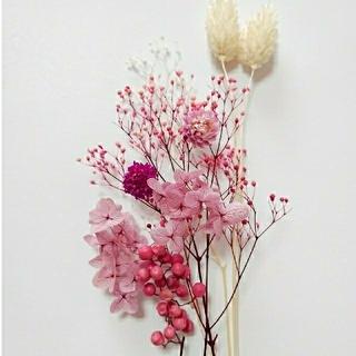 ピンク系 花材 セット 詰め合わせ ハーバリウム アロマワックス ドライフラワー(ドライフラワー)