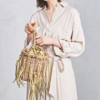 ラドロー(LUDLOW)の美品❣️ラドロー フリンジバスケット S ゴールド ludlow(かごバッグ/ストローバッグ)