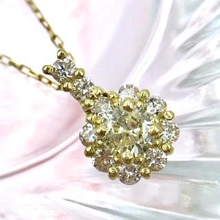 ★K18 ダイヤモンド D0.11ct 取り巻き ネックレス 40cm(ネックレス)