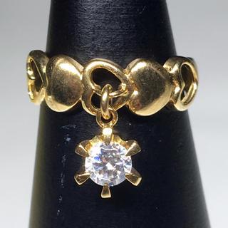 特別価格‼️K18 ゴールド リング 指輪 ジルコニア ピンキー お洒落 女性(リング(指輪))