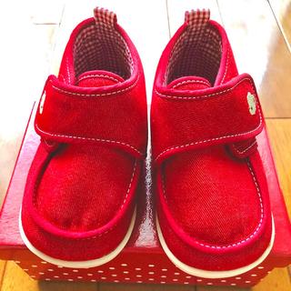 familiar - familiar ファミリア デニム生地 ファーストシューズ 赤色13cm 新品