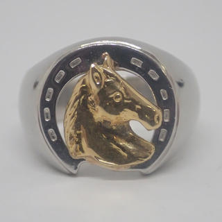 pt900  K18リング 馬蹄 馬 メンズ  指輪(リング(指輪))