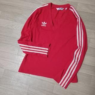 アディダス(adidas)のadidas アディダス トレフォイル Vネック長袖トップス 長袖Tシャツ (Tシャツ(長袖/七分))
