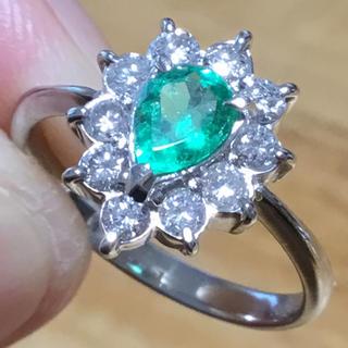 華奢✨ペアシェイプ✨エメラルド&ダイヤモンド リング 指輪 約12号 プラチナ(リング(指輪))