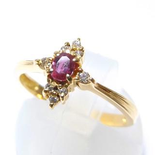 k18YG 天然ルビー ダイヤモンド クロスデザイン リング(リング(指輪))