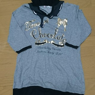 キューポット(Q-pot.)のQ-pot フード付き七部丈シャツ(Tシャツ(長袖/七分))