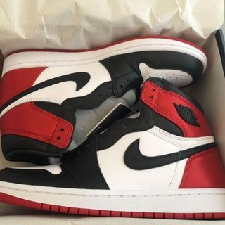 NIKE - 26cm WMNS AIR JORDAN 1 SATIN BLACK TOE