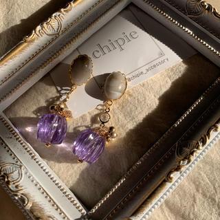 アメリヴィンテージ(Ameri VINTAGE)の1点のみ❤︎ gray × purple beads pierce(ピアス)