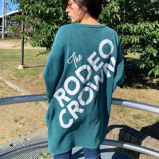 ロデオクラウンズワイドボウル(RODEO CROWNS WIDE BOWL)のロデオ★ 加工ニット ワンピース/GRN(ミニワンピース)