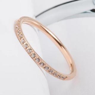 極細1.5mmCZダイヤモンドステンレス製ピンキーリング指輪(リング(指輪))