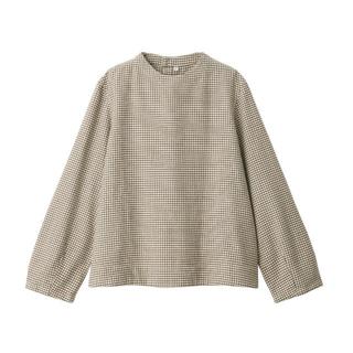 MUJI (無印良品) - 無印良品 新疆綿フランネルブラウス 婦人M・モカブラウン×チェック