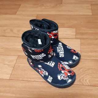 HYSTERIC MINI - 合間出品❤総柄ブーツ黒❤17㎝ やや大きめ