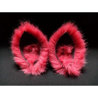 【 レッドネコミミ 】ヘアピンねこみみ◆赤いねこ耳◆頭の髪に着けられる猫耳(ヘアアクセサリー)