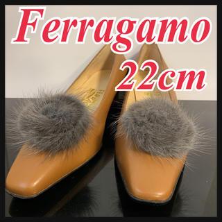 サルヴァトーレフェラガモ(Salvatore Ferragamo)のサルヴァトーレフェラガモ ファーパンプス ライトブラウン 皮 22cm(ハイヒール/パンプス)