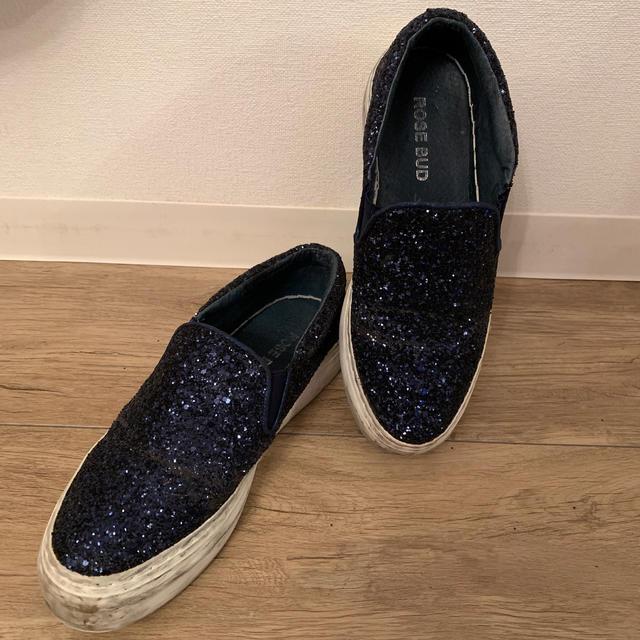 ROSE BUD(ローズバッド)のROSEBUD グリッタースリッポン ネイビー レディースの靴/シューズ(スリッポン/モカシン)の商品写真