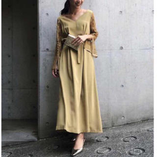 Ameri VINTAGE - アメリヴィンテージ  LACE SLEEVE REFINED マスタード
