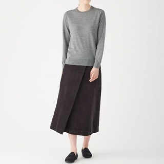 MUJI (無印良品) - ●新品●  無印良品ウールシルク洗えるクルーネックセーター/グレー/XL