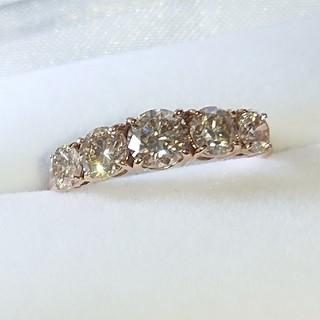 1.3ct ダイヤ k18 リング ダイヤモンド シャンパン ブラウン