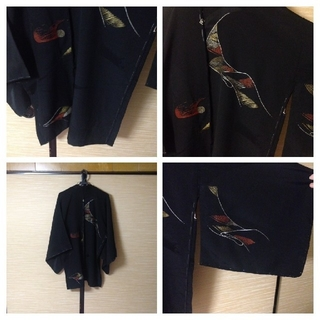 男女兼用着物リメイクノーカラージャケット羽織 カラスコート 刺繍!(ノーカラージャケット)