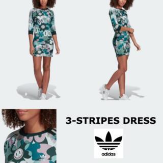 アディダス(adidas)の中古アディダス総柄7分袖ワンピースSハティスチュワート 3ストライプ(ミニワンピース)